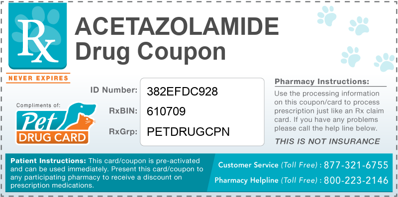 This Acetazolamide coupon provides significant prescription savings at pharmacies nationwide