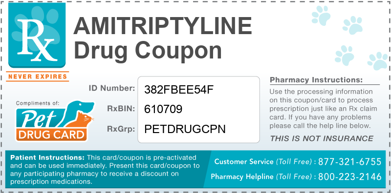This Amitriptyline coupon provides significant prescription savings at pharmacies nationwide