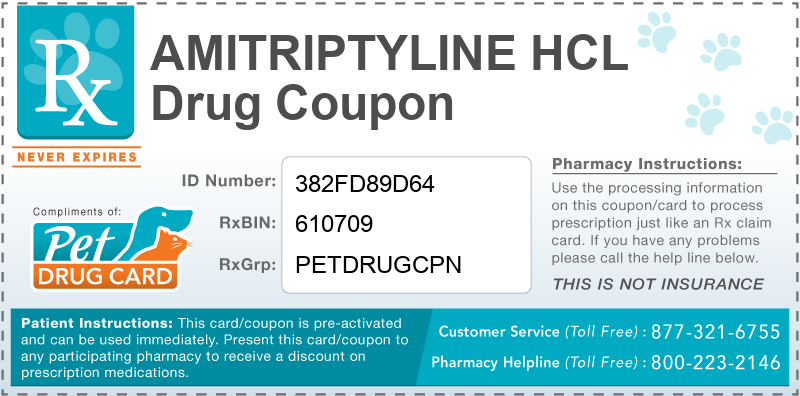 This Amitriptyline HCL coupon provides significant prescription savings at pharmacies nationwide
