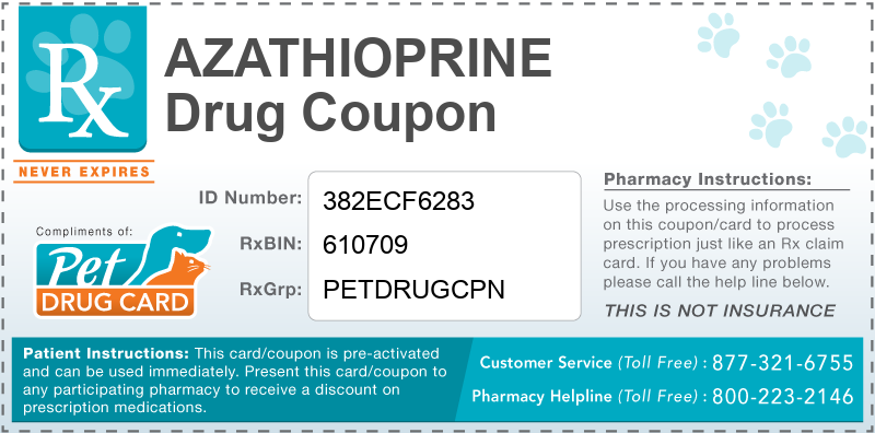 This Azathioprine coupon provides significant prescription savings at pharmacies nationwide