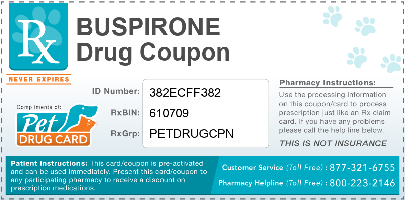 This Buspirone coupon provides significant prescription savings at pharmacies nationwide