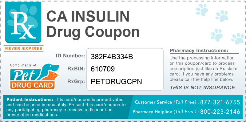 This CA Insulin coupon provides significant prescription savings at pharmacies nationwide
