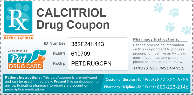 This Calcitriol coupon provides significant prescription savings at pharmacies nationwide