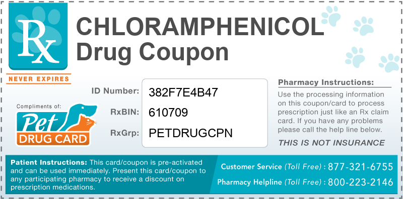 This Chloramphenicol coupon provides significant prescription savings at pharmacies nationwide