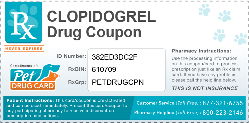 This Clopidogrel coupon provides significant prescription savings at pharmacies nationwide
