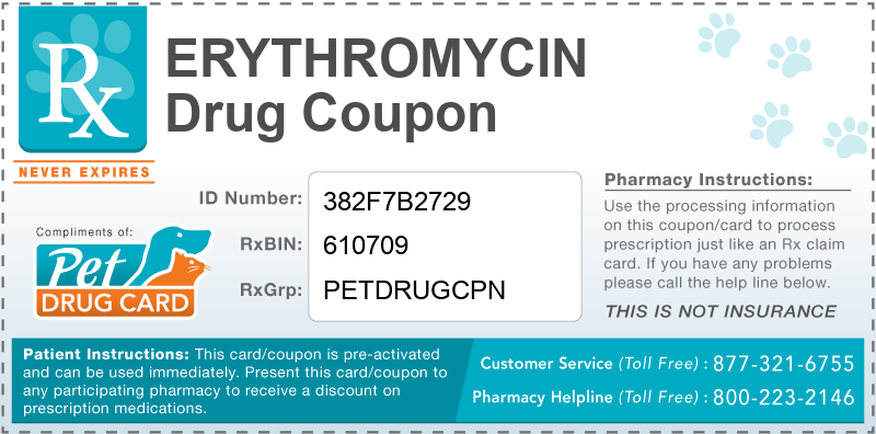 This Erythromycin coupon provides significant prescription savings at pharmacies nationwide