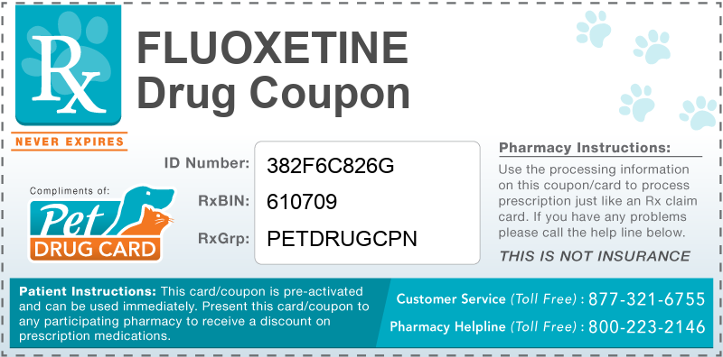 Fluoxetine Discount Pharmacy Coupon - This free pet drug coupon is pre-activated