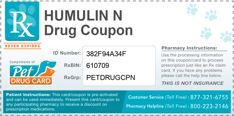 Humulin N Discount Pharmacy Coupon - This free pet drug coupon is pre-activated