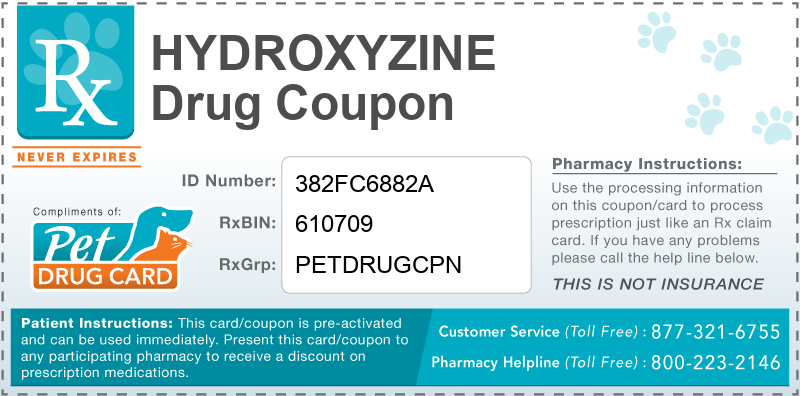 This Hydroxyzine coupon provides significant prescription savings at pharmacies nationwide