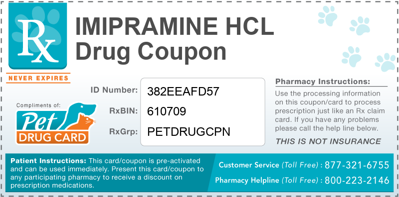 This Imipramine HCL coupon provides significant prescription savings at pharmacies nationwide