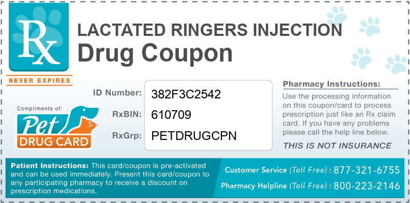 This Lactated Ringers Injection coupon provides significant prescription savings at pharmacies nationwide