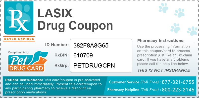 This Lasix coupon provides significant prescription savings at pharmacies nationwide