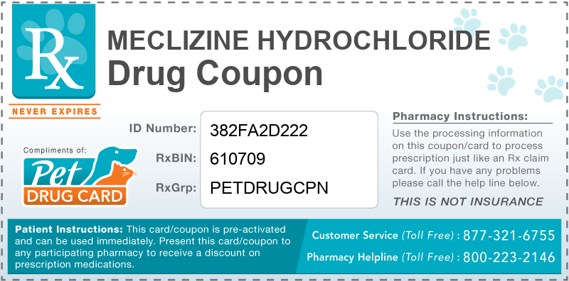 This Meclizine Hydrochloride coupon provides significant prescription savings at pharmacies nationwide