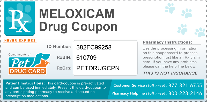 This Meloxicam coupon provides significant prescription savings at pharmacies nationwide