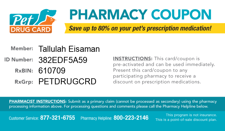 Pet Drug Card