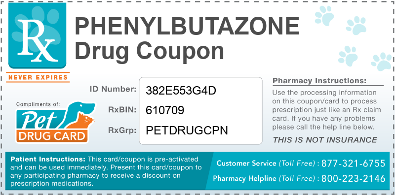This Phenylbutazone coupon provides significant prescription savings at pharmacies nationwide