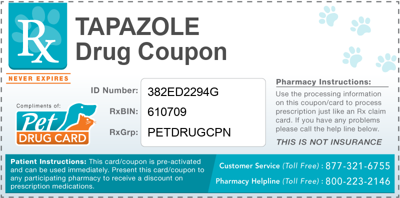 This Tapazole coupon provides significant prescription savings at pharmacies nationwide