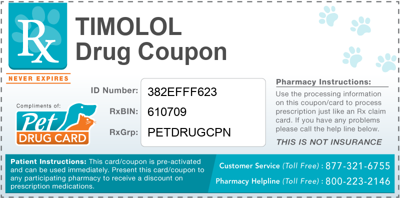 This Timolol coupon provides significant prescription savings at pharmacies nationwide