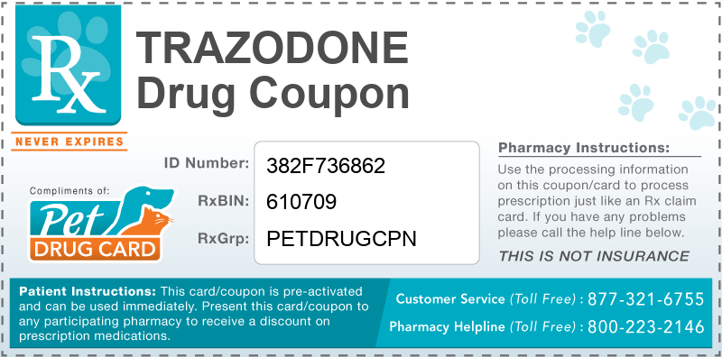 This Trazodone coupon provides significant prescription savings at pharmacies nationwide